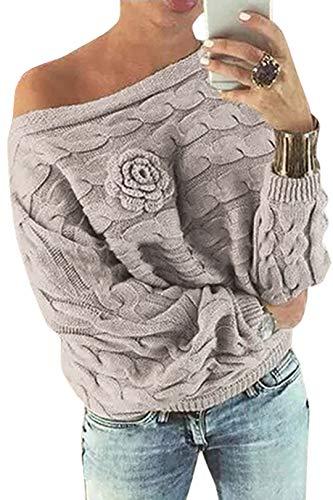YOINS Schulterfrei Oberteile Damen Herbst Winter Off Shoulder Pullover Pulli für Damen Loose Fit mit Blumenmuster Hellkhaki XL
