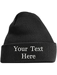 6e16219d3be Adults Personalised Embroidered Any Name Cuffed Knitted Beanie Hat