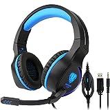 Gaming Headset PS4,Fodlon BUTFULAKE Gaming Kopfhörer mit Mikrofon LED Effekt für PS4 PC Film Gaming Spielen Chat Musik Blau