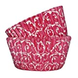 SK pinkfarbene Papier-Muffinförmchen im Barockstil - 36 Stück