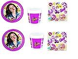 Cdc -kit n°6 festa e party Soy Luna- (32 piatti, 32 bicchieri, 40 tovaglioli)