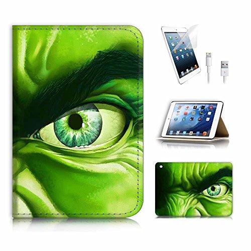 (für iPad Mini 123, Generation 1/2/3) Flip Wallet Schutzhülle & Displayschutzfolie & Ladekabel Bundle. A4016Hulk Superheld (Ipad Case Hulk 3)