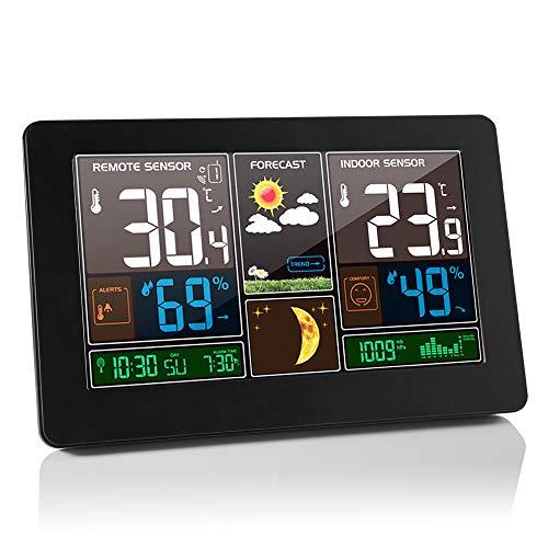 Estación meteorológica inalámbrica, higrómetro de termómetro Interior y Exterior, Pantalla LCD...
