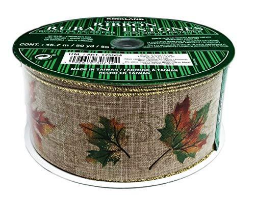 Herbst-Ahornblätter & Wirbel Golddraht Rand Premium Herbst Urlaub Dekorieren Kranz Schleife Geschenkband 6,3 cm breit x 50 Meter (Kirkland Blätter)