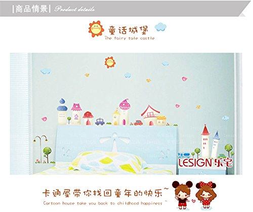 LangToo Cartoon Schlafzimmer Bett dekorative Wand Aufkleber sind schöne Märchenschloss wall Poster (Poster-betten, Möbel)