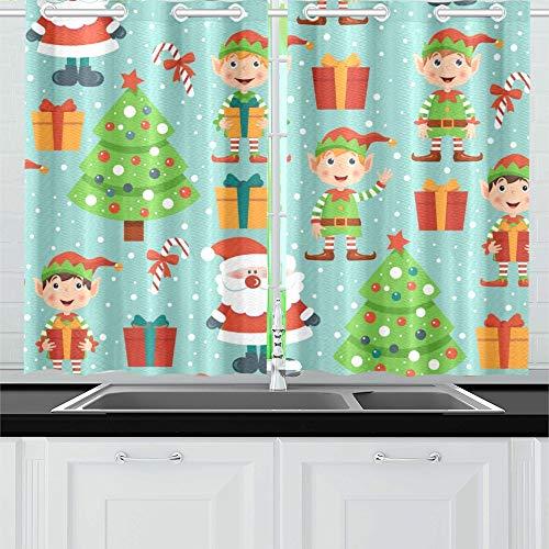 JOCHUAN Weihnachtselfen Weihnachtsmann Baum Küche Vorhänge Fenster Vorhang Ebenen für Café, Bad, Wäscherei, Wohnzimmer Schlafzimmer 26 X 39 Zoll 2 Stück