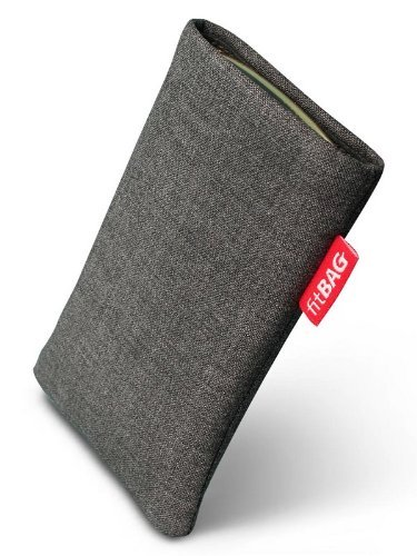 fitBAG Jive Grau Handytasche Tasche aus Textil-Stoff mit Microfaserinnenfutter für Samsung SGH-J150