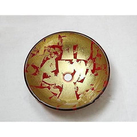 pintados a mano gowe redonda para victory lavabo fregadero sobre encimera de cristal templado para