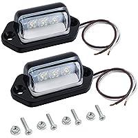 Justech 2x Luces de Placa de Matrícula LEDs Lámparas Traseras Universal 12V/ 24V para Coche Remolque Vehículo Camión UTE Caravana Barco