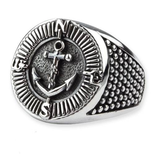 Ring Kompass und Anker aus 925er Sterling Silber Maritimer Schmuck (58 (18.5))