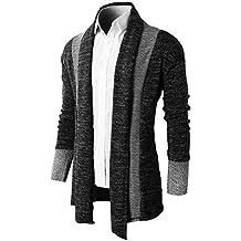 Brinny Herren Strickjacke Open Jacke Lang Cardigan Knit Mantel Strick Jacke Hoodie Hoody Sweatshirt Sweatblazer