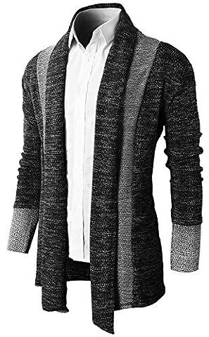 Brinny Hommes Chandail Veste Manteau long Cardigan ouvert en tricot