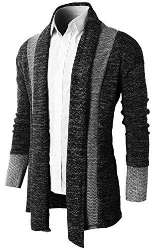 Brinny Herren Strickjacke Open Jacke Lang Cardigan Knit Mantel Strick Jacke Hoodie Hoody Sweatshirt Sweatblazer Schwarz