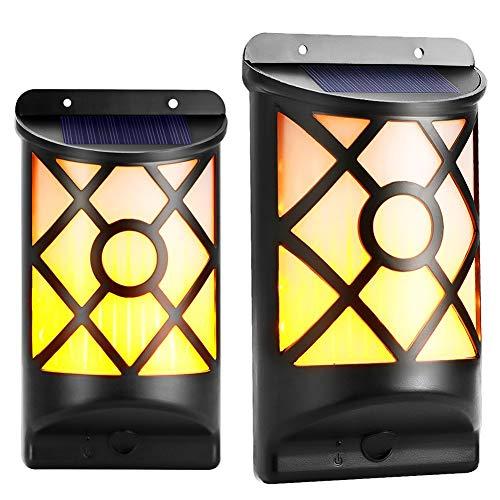 Koopower Solarleuchte Tanzen Flamme Beleuchtung 66 LED Flickering Solar Wandleuchte, Waaserdicht IP65, Außenleuchte Solarlampe drahtlose Wandampe für Garten, Wand, im Freien, Zaun, Patio, Yard.
