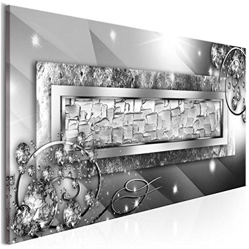 decomonkey Bilder Abstrakt 135x45 cm 1 Teilig Leinwandbilder Bild auf Leinwand Vlies Wandbild Kunstdruck Wanddeko Wand Wohnzimmer Wanddekoration Deko Diamenten Glas modern Silber (Glas-moderne Wand-kunst)