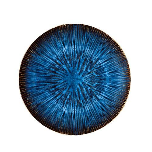 Yxsd Plaque de Steak de l'Ouest créative Plat de pâtes en céramique européenne Plaque de Salade de Fruits ménagers (Couleur : Bleu, Taille : S)