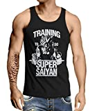 Stylotex Herren Tank Top Basic Training to be Super Saiyan, Farbe:schwarz, Größe:L