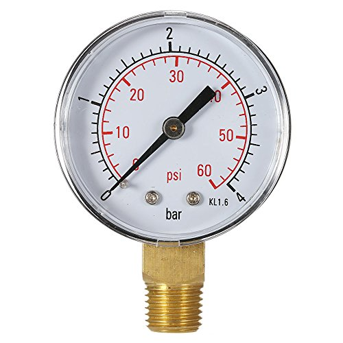 KKmoon 50mm 0 ~ 60 psi 0 ~ 4 bar Manometer, Pool Filter Wasserdruck Messer, Dial Hydraulische Meter 1/4 Zoll BSPT Gewinde