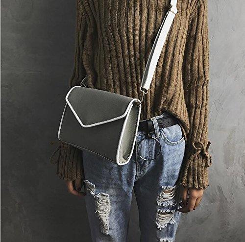 Autunno E Inverno Semplice Borsa Piccola Borsa Quadrata Moda Colore Smerigliato Borsa A Tracolla Cucitura A Mano Femminile Messenger Bag Grigio Chiaro