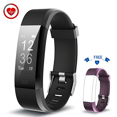 Vigorun Fitness Armband YG3 Plus Fitness Tracker mit Pulsmesser Multi-Sport-Modus Aktivitätstracker Schrittzähler Kalorienzähler Schlafüberwachung für iOS und Android (Schwarz+Violett)
