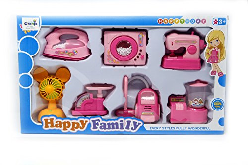 "Fusineâ""¢ 7 in 1 Houshold & kItchen Appliances Sets Toy for kids ( Fan, vaccum cleaner, iron box, washing machine, sewing, weighing , grinder )"