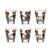 Coffret de 6 petits verres à eau de vie, motif Hansi
