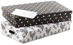 Rangement et Cie RAN4370 Lot de 2 Boîtes Dessous de Lit avec Aspi Space Blanc / Noir Pois Blanc