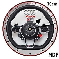 Idea Regalo - GH SERVICES, orologio da parete a forma di volante di Audi R8, in MDF, del diametro di 30 cm, personalizzabile