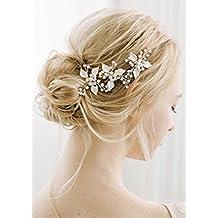 kercisbeauty hecho a mano boda novia para novia de color perla rama hoja hojas novia bohemio hojas de oro forma de U horquillas tocado para boda y fiesta, ...