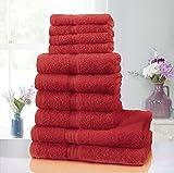 Juego de toallas de algodón puro, 10 piezas, 4 caras, 4 manos, 2 toallas de baño, muy absorbentes, Rojo, Face (30x30cm) Hand (50x80cm) Bath (70x120cm)
