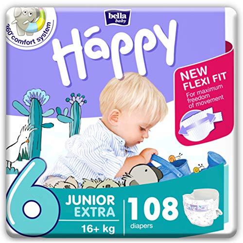 bella baby Happy Windeln Größe 6 Junior Extra, 1er Pack (1 x 108 Stück)