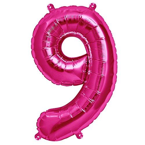 """ballonfritz® Ballon Zahl 9 in Pink - XXL 40""""/102cm - Folienballons für Luft oder Helium als Geburtstag, Jubiläum, Hochzeit oder Abschluss Geschenk, Party Dekoration oder Überraschung"""