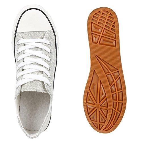 Damen Glitzer Sneakers Low Schnürer Freizeit Canvas Schuhe Silber