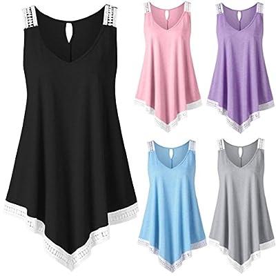 MOIKA Damen Tank Tops, New Mode Damen Casual V-Ausschnitt Swing Lace Asymmetrische Solide Weste Tank Tops Bluse