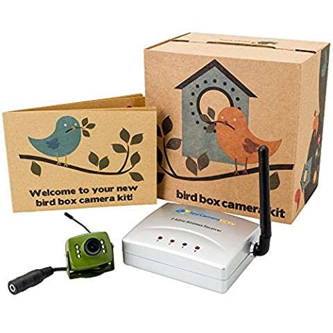Greenfeathers Wireless Bird Box Camera with Night Vision, Wireless Receiver, 20m Power Extension Cable, 700TVL Video and Audio - Perfect for your Garden, Nest Boxes, Bird Houses, Green Camera, Wide Angle Lens, Audio, 940nm Infrared