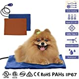 YAMI Pet Heating Pad, 12W Cat Dog Heated Bed Mat, Waterproof Adjustable Warming Mat with Chew Resistant Cord and 2 Free Soft Covers(40×30cm)