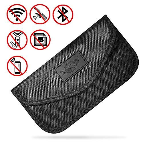 MONOJOY Keyless Go Schutz Autoschlüssel Auto Schutzhüllen für Schlüsselmäppchen Schlüsseletui Schlüsseltasche Strahlenschutz Tasche Funkschlüssel Abschirmung, RFID Schlüssel sicher Tasche Groß Schwarz - Wifi-jammer