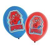 amscan 9903673 Lot de 6 Ballons Latex Spiderman Rouge et Bleu