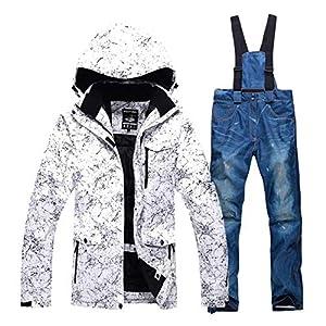 JJZZ Skibekleidung für Herren Verdicken Warme Männer Frauen Paare Skianzug Winter Winddicht wasserdichte Skianzüge Männlichen Snowboard Jacke Hosenanzug Plus Größe