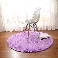Alfombras, CAMAL Redonda Material de Lana de Seda Artificial Alfombras de Yoga para Sala de Estar Dormitorio y Baño (Violeta, 100cm)
