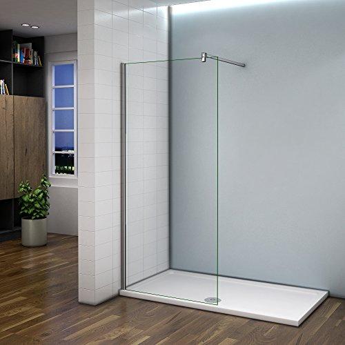 Paroi de douche 70x200cm verre anticalcaire cabine de douche à l'italienne avec barre de fixation 140 cm