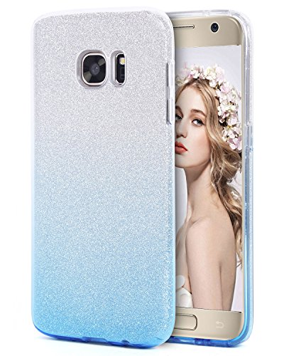 Imikoko Galaxy S7 Hülle, Glitzer Strass Hülle Handyhülle Schutzhülle [Weiche TPU Abdeckung + Glitzer Farbe Make-up-Schicht + PP innere Schicht] [DREI in Einem] Hülle für Galaxy S7 (Farbverlauf Blau)