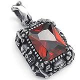 Daesar Edelstahl Halskette Herren Anhänger Halskette Dog Tag Halskettee Rot Rubin 24 Inch