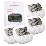 DURAGADGET *Quad-Pack* Small Indoor LCD Room Temperature & Humidity Thermometer/Gauge With Stand And