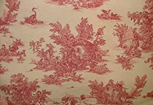 Red On Linen Rustic French Toile de Jouy 100% Cotton Upholstery Curtain Shabby Chic Fabric - Sold By The Metre by Pandoras Upholstery