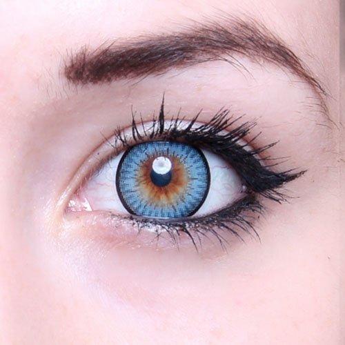 Matlens - GEOLICA Farbige Kontaktlinsen ohne Stärke natürlich blau blue GEO circle lens Big Eyes WT-A52 2 Linsen 1 Kontaktlinsenbehälter 1 Pflegemittel 50ml