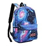 BUOU Daypacks Mode Leinwand Sterne Universum Rucksack Schulrucksack Campus Student Rucksack Britische Flagge Tasche, Galaxy Rucksack (Blau)