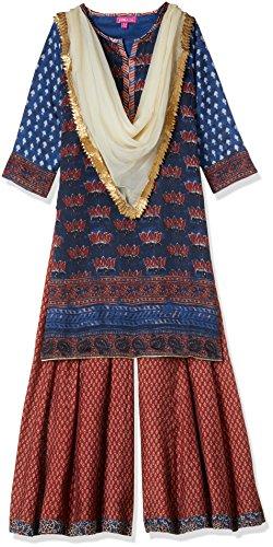 Biba Girls' Salwar Suit Set (KW2447_INDIGO/MAROON_7)