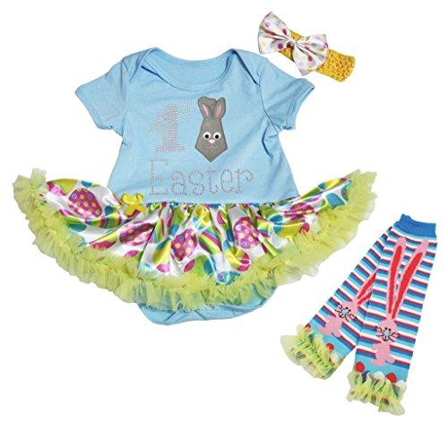 My 1st Easter Baby Dress Bunny Tie Blue Bodysuit Green Egg Tutu Leg Warmer Nb-18m (3-6 - Baby Blue Bunny Kostüm