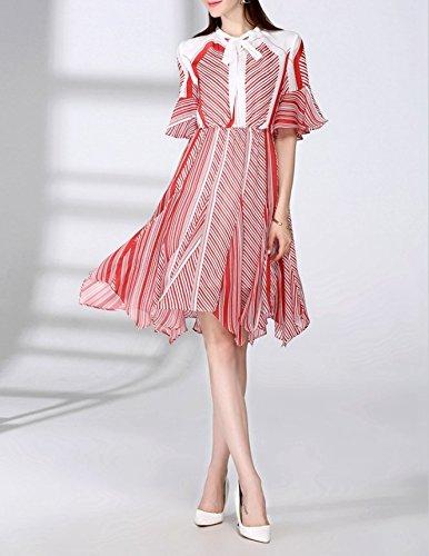 Das Sommer - Mode Für Frauen In Europa Und Den Usa Streifen Kragen Kragen Lotus Ärmel,L (Cinderella Adult Kleid)